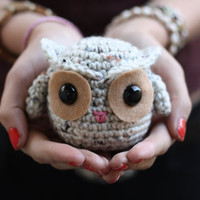 Crochet Owl - Oatmeal and Tan (Ready to Ship)