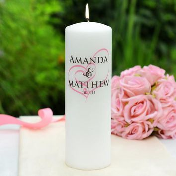White Embracing Hearts Personalized Wedding Candle