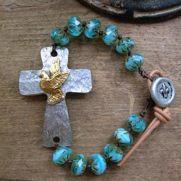 Sideways cross bracelet - Inner Faith - bohemian jewelry boho knotted bracelet, sundance, silver cross, peace dove, leather, aqua