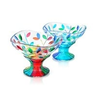Due Zeta Designer Kitchen & Dining San Marco - Hand Decorated Murano Glass Dessert Bowl