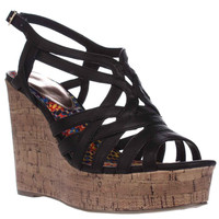 madden girl Enroll Wedge Strappy Sandals - Black
