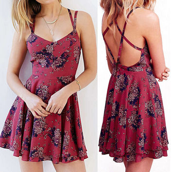 Cross Back Strap Floral Print A-Line Dress