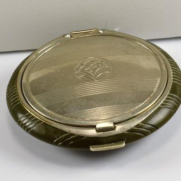 Richard Hudnut Compact - - Double Rouge Powder - Olive Green Base - Silver Metal - Flower Design - Vintage Vanity Art Deco