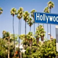 "Hollywood boulevard sign, with palm trees in the background STUNNING CANVAS ART PRINT POSTER 36""X24"" A1 90cmX60cm"