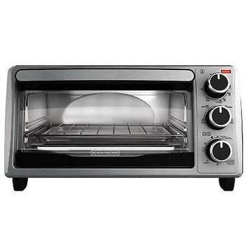 BLACK DECKER  4-Slice Stainless Steel Toaster Oven Bake Pan Broil Rack & Toast