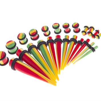 BodyJ4You Gauges Kit 12 Pairs Rasta Flag Tapers & Plugs 8G 6G 4G 2G 0G 00G 24 Pieces