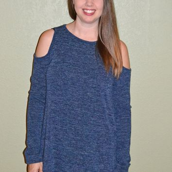 Finally The Weekend Cold Shoulder Top: Navy