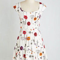 Mid-length Short Sleeves A-line Showered with Flowers Dress by Pink Martini from ModCloth
