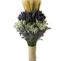 Organically Dried Lavender  with Wheat Wedding Bouquet - Bridal bouquet -Bridesmaid bouquet  MADE TO ORDER!