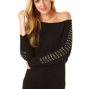 Studded Off Shoulder Sweater