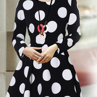 Black and White Polka Dot Long Sleeve Mini Dress