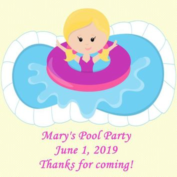 Pool Birthday Party Favor Tags Blonde Hair