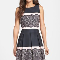 Women's Tahari Lace Print Pleated Fit & Flare Dress,