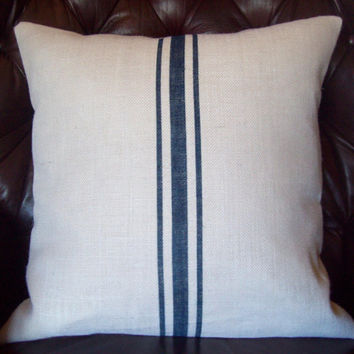 Grain Sack Pillow Cover 20 x 20...As Seen in This Old House Magazine - by North Country Comforts - Decorative Burlap Pillow