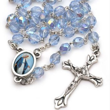 Women's Miraculous Medal Catholic Rosary Beads Saphire Blue Glass Faceted Beads 754207935879