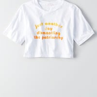 Don't Ask Why Cropped Graphic T-Shirt, White