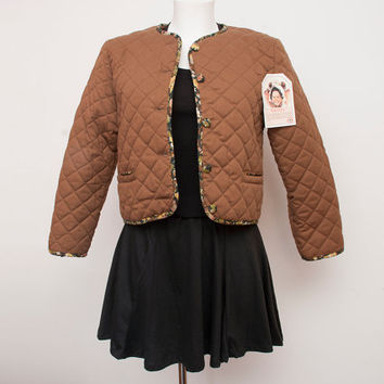 90s NOS vintage quilted Crop jacket brown