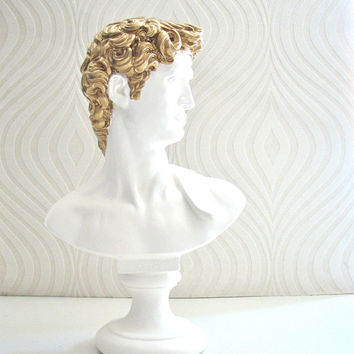 David Bust Statue in white with gold hair