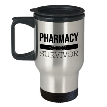 Travel Mug Gifts for Pharmacist Student - Pharmacy School Survivor Stainless Steel Insulated Travel Coffee Cup with Lid