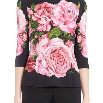 Dolce&Gabbana Rose Print Cady Top | Nordstrom