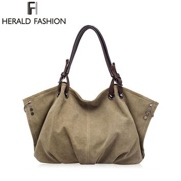 High Quality Canvas Women Handbag Casual Large Capacity Hobos Bag Hot Sell Female Totes Bolsas Trapeze Ruched Solid Shoulder Bag