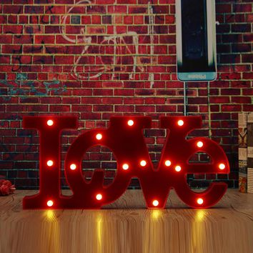 Wall Mounted LOVE LED Sign Lamp Lighted Letters Stand Red Luminous Light Wall Art Gift Wedding Party Events Supplies Home Decor