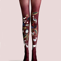 "Women's Fashion ""The Zoo"" Printed Pattern High Waist Tights Pantyhose VK0043 by Fashnin.com"