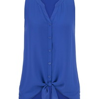 Solid Chiffon Tank With Tie Bottom - Blue Twilight