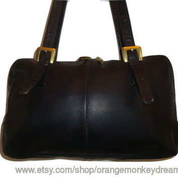Free Ship vintage STONE MOUNTAIN buckle handles black leather Shoulder satchel Medium Drs.bAG Purse handbag