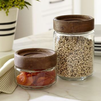 PADDLE WOOD & GLASS FOOD CANNISTERS