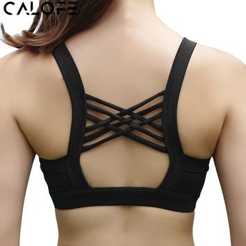 CALOFE Women Sport Bra Crop Top Female Sexy Cross Back Sports Bra Padded Fitness Jogging Yoga Vest Gym Fitness Athletic Top z30