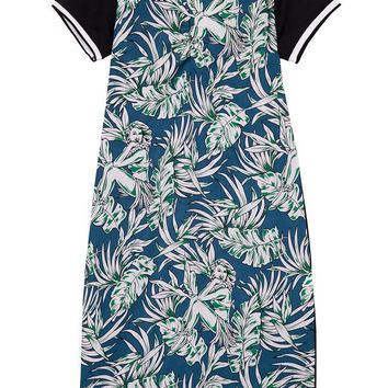 Double Color Mosaic Leaf Print Slim Round-neck Short Sleeve Dress One Piece Dress [4917785220]