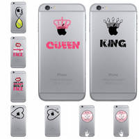 Free Shipping Pretty QUEEN AND KING Couple of letters Case For iphone 7 7 Plus 6 6S 5 5S SE Transparent Clear TPU Back Cover