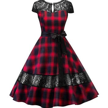 HIGHLANDER RED TARTAN AND LACE 50S DRESS
