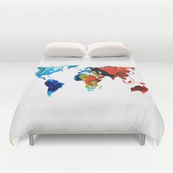 Best world map duvet cover products on wanelo map of the world 3 colorful abstract art duvet cover by sharon gumiabroncs Image collections