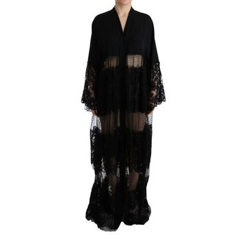 Dolce & Gabbana Black Silk Floral Lace Kaftan Dress