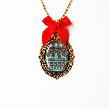 Ugly Christmas Sweater with Deers - Handmade Vintage Cameo Pendant Necklace With Red Ribbon Bow - Christmas Jewelry - Funny Kitsch Gift Idea