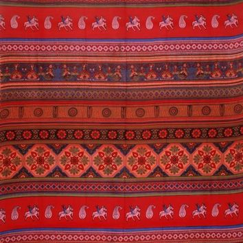 Handmade 100% Cotton Kalamkari Tie Dye Tapestry Bedspread Tablecloth Queen Red