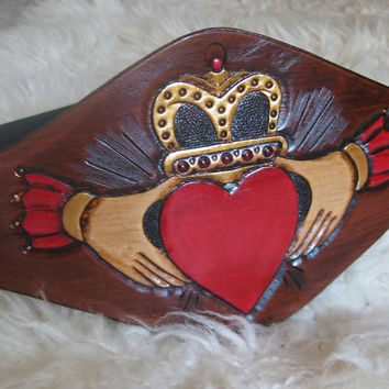 The Claddagh .........................Hand Tooled High Waist Cinch Leather Belt