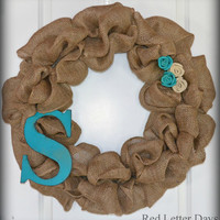 Burlap wreath with initial and flowers