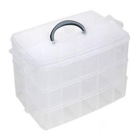 Big size 3 Layer Detachable Lattice Storage Box Plastic Jewelry Makeup Home Organizer Boxes Travel Cosmetic Storage Case