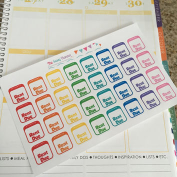 FREE SHIPPING D3 Rent Due bill pay stickers for Erin Condren Life Planner/Plum Paper Planner - set of 32