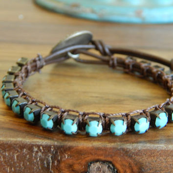 Turquoise rhinestone leather bracelet, antique style button, retro style, colorful, southwest style