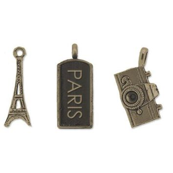 Antique Brass Paris Craft Charm Set