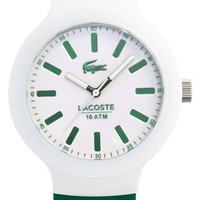 Men's Lacoste 'Borneo' Silicone Strap Watch, 44mm - Green/ White
