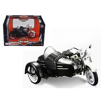1958 Harley Davidson FLH DUO Glide Side Black White Motorcycle 1:18 Diecast