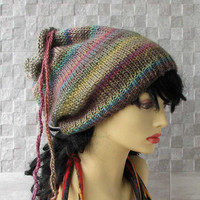 Earth Colors dreadlocks tube hat, dreads headband, wide knitted hair wrap
