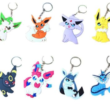 Pokemon PVC Keychain Eevee Vaporeon Jolteon Flareon Espeon Umbreon Leafeon Glaceon Sylveon Pendants with Key Ring