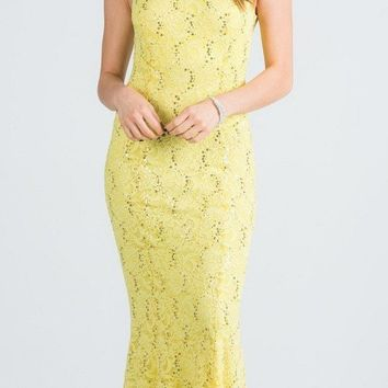Yellow Cap Sleeves Fit and Flare Long Formal Dress Lace Cut Out Back