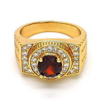 Gold Layered Mens Ring, with Micro Pave and Cubic Zirconia, Golden Tone